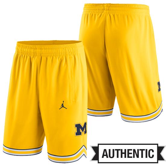 Jordan University of Michigan Basketball Yellow Authentic Shorts