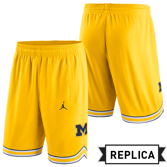 Jordan University of Michigan Basketball Yellow Replica Shorts