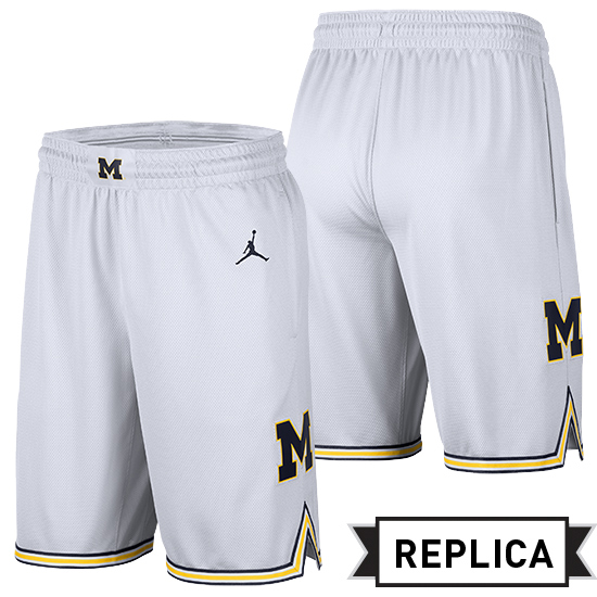 fd77408c872 Jordan University of Michigan Basketball White Replica Shorts