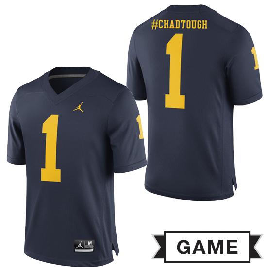 Jordan University of Michigan Football Navy #1 #ChadTough Game Jersey