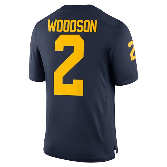 14f433c4c81 Jordan University of Michigan Football Navy Charles Woodson #2 ...