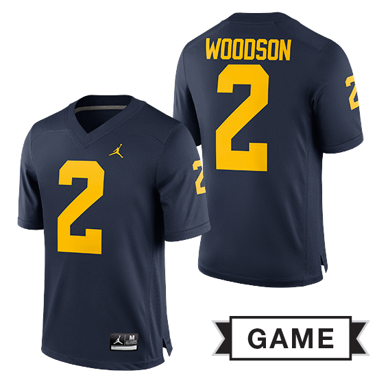 reputable site 32067 2a37c Jordan University of Michigan Football Navy Charles Woodson #2 Game Jersey