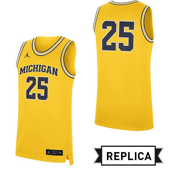 Jordan University of Michigan Basketball Maize Replica #25 Jersey