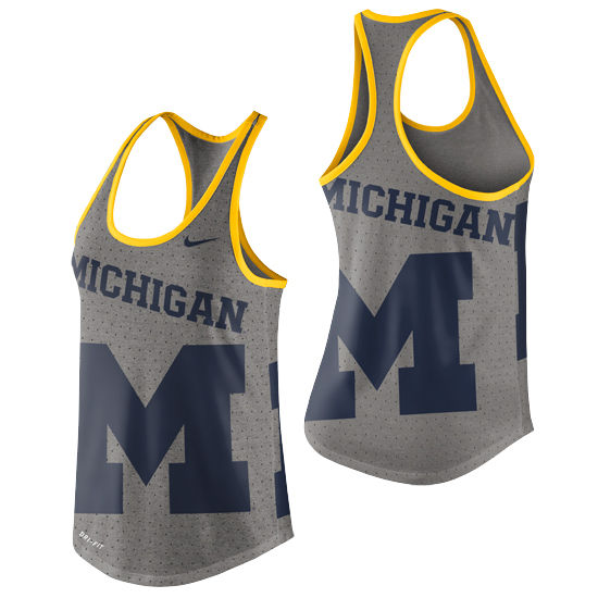 Nike University of Michigan Ladies Gray Dri-Blend Gear Up Tank Top
