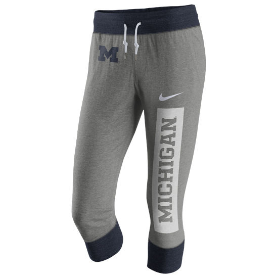 Nike University of Michigan Ladies Gray Tailgate Gym Vintage Capri Sweatpant