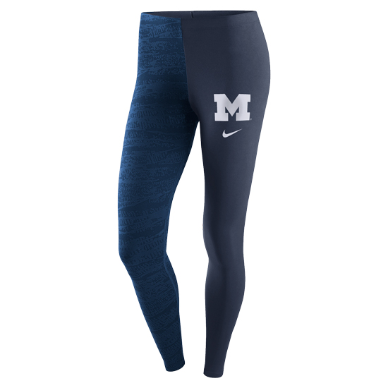 Nike University of Michigan Women's Navy Leg-A-See Tight