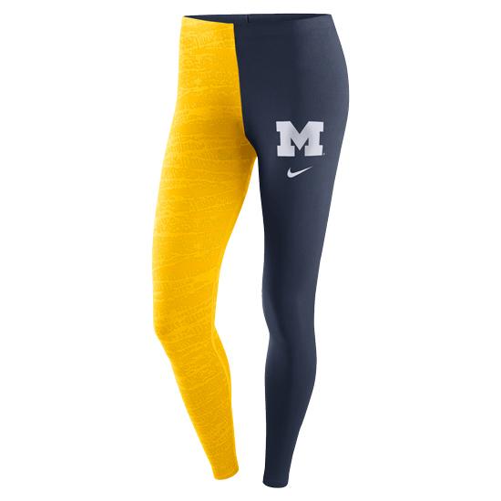 Nike University of Michigan Women's Yellow Leg-A-See Tight