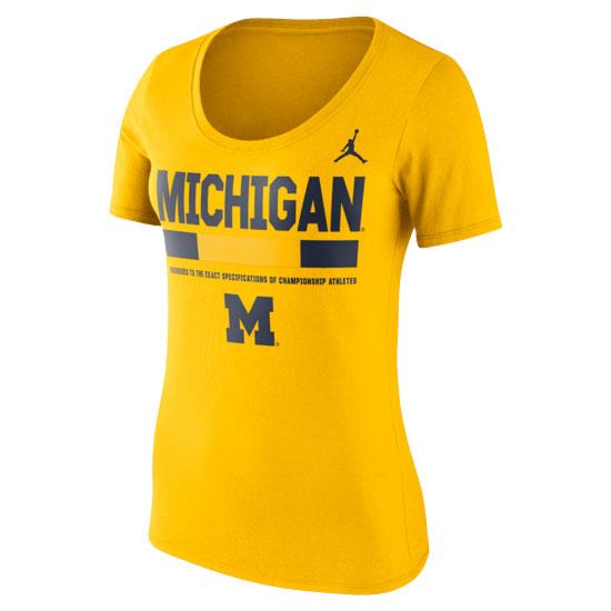 Jordan University of Michigan Football Women's Yellow Sideline DNA Scoopneck Tee