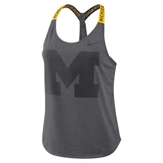 Nike University of Michigan Women's Heather Gray Elastika Dri-FIT Training Tank Top