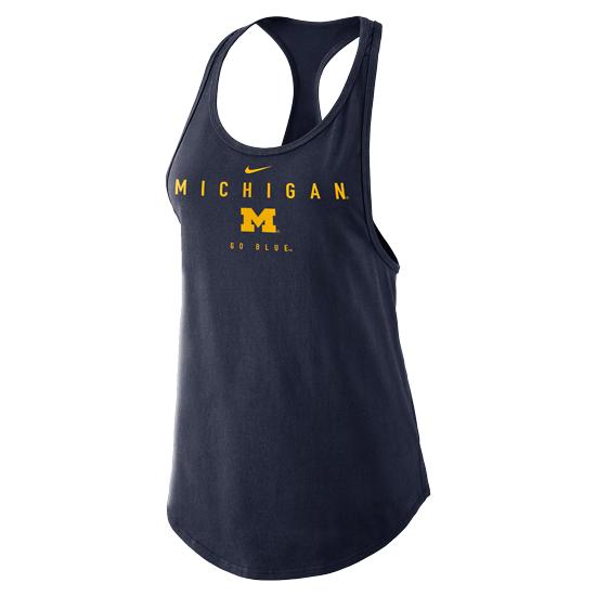 Nike University of Michigan Women's Navy Gym Tank Top