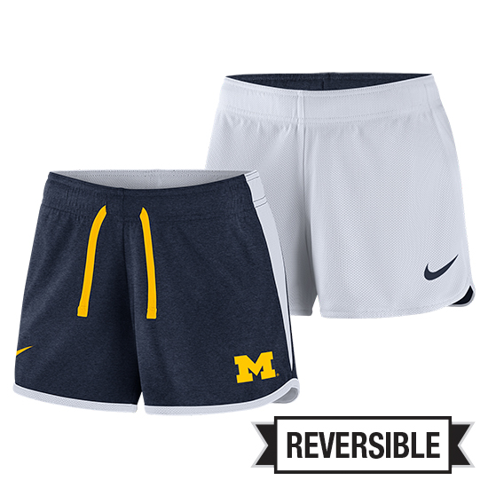 Nike University of Michigan Women's Navy/ White Reversible Dri-FIT Touch Shorts