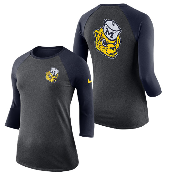 Nike University of Michigan Women's Charcoal Heather Gray Dri-FIT Triblend College Vault Wolverine 3/4 Raglan Sleeve Tee