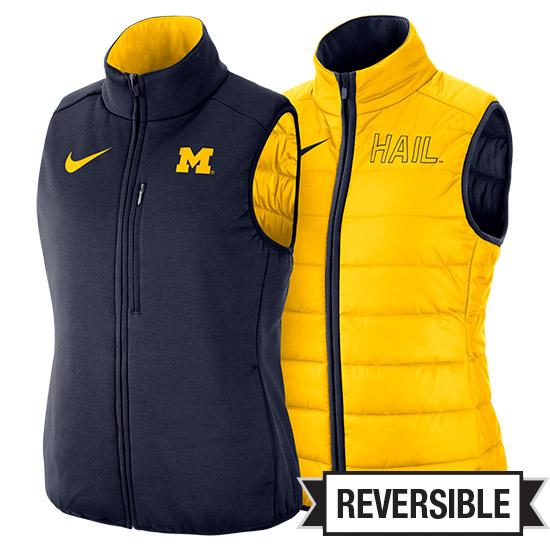 Nike University of Michigan Women's Navy/ Maize Reversible Shield Vest