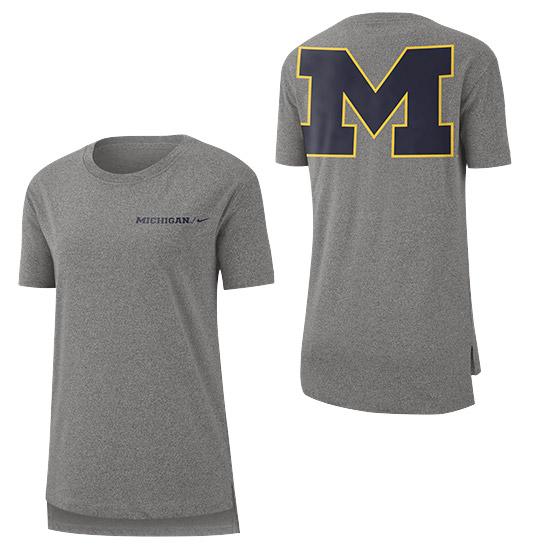Nike University of Michigan Women's Marled Gray Split Seam Tee