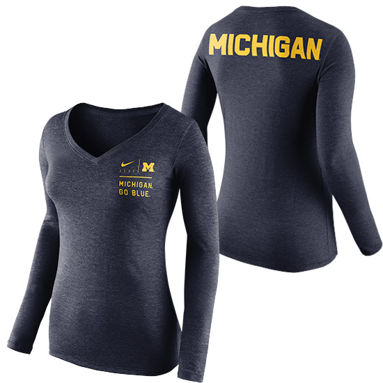 Nike University of Michigan Women's Heather Navy Long Sleeve Tri-Blend Modern V-Neck Tee