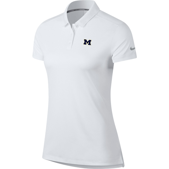 Nike Golf University of Michigan Women's White Dri-FIT Polo