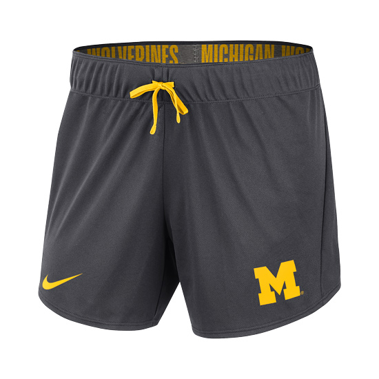 Nike University of Michigan Women's Anthracite Rollover Waistband Dri-FIT Shorts