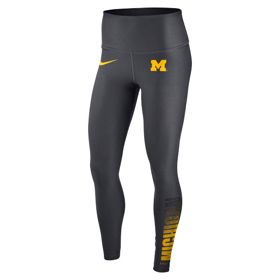 Nike University of Michigan Women's Anthracite ''Just Do It'' Dri-FIT Training Tight