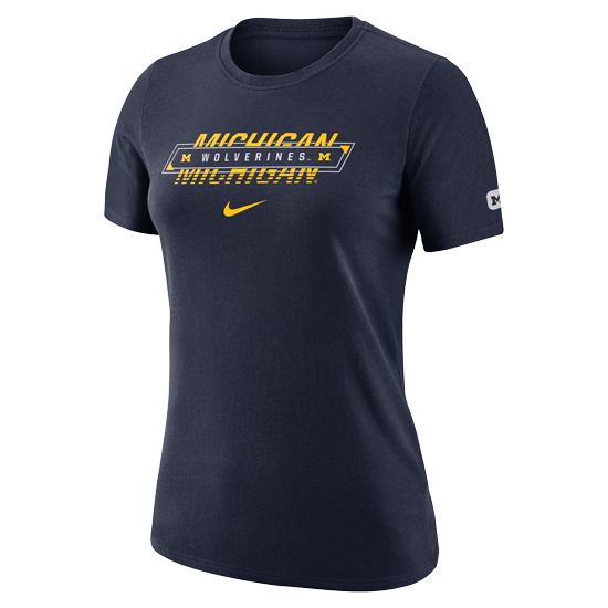 Nike University of Michigan Women's Navy Dri-FIT Cotton Tee