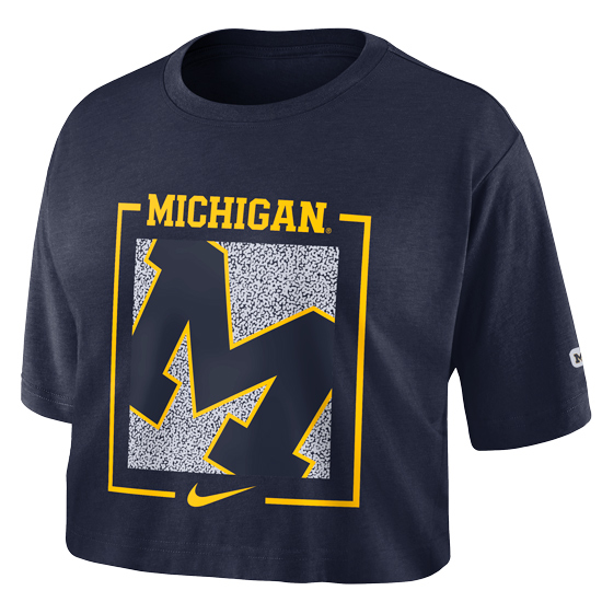 Nike University of Michigan Women's Navy Dri-FIT Cotton Crop Tee