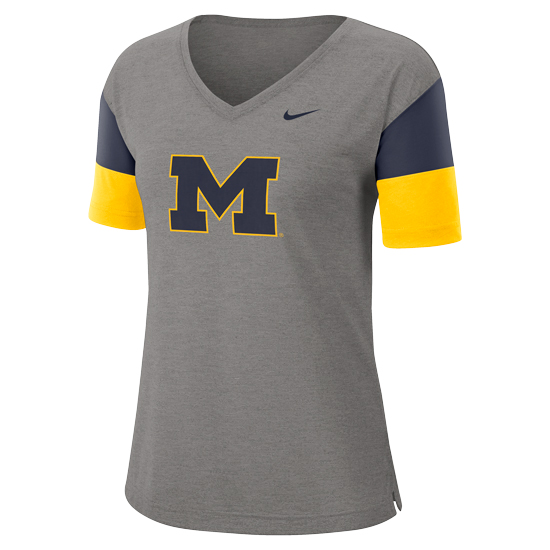 Nike University of Michigan Women's Gray V-Neck Dri-FIT Breathe Tee