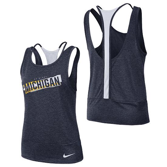 Nike University of Michigan Women's Heather Navy Dri-Fit Double Strap Tank Top