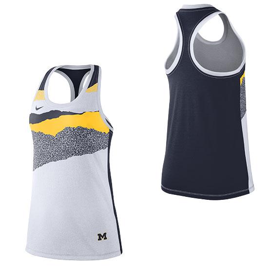 Nike University of Michigan Women's White/Navy Front/Back Dri-FIT Cotton Racerback Tank Top