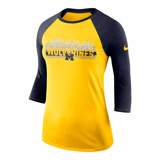 Nike University of Michigan Women's Maize/Navy 3/4 Raglan Sleeve Dri-FIT Cotton Tee