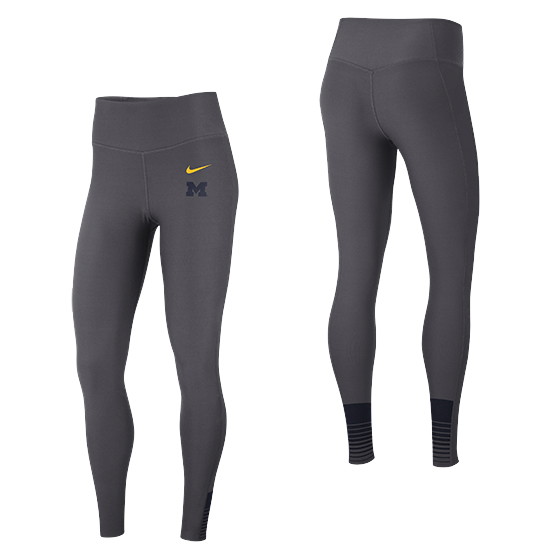 Nike University of Michigan Women's Anthracite Dri-FIT High-Rise Training Sculpting Tight