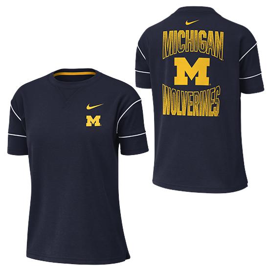 Nike University of Michigan Women's Navy Dri-FIT Breathe Fashion Tee