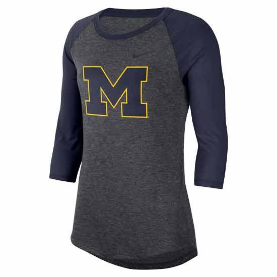 Nike University of Michigan Women's Charcoal Heather Gray/ Navy Dri-FIT 3/4 Length Raglan Sleeve Tee
