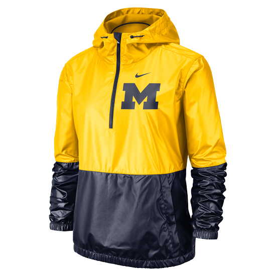 Nike University of Michigan Women's Maize/Navy Anorak 1/2 Zip Lightweight Pullover Jacket