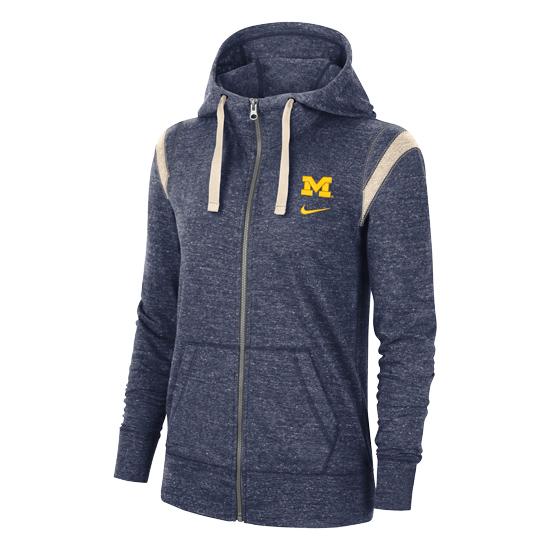 Nike University of Michigan Women's Heather Navy Gym Vintage Full Zip Hooded Sweatshirt