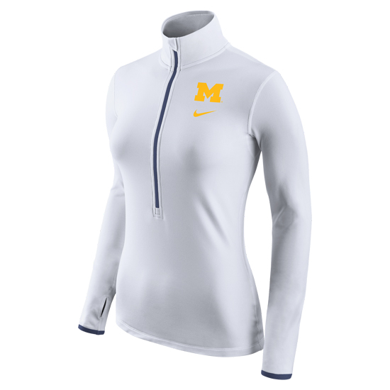 Nike University of Michigan Women's White Dri-FIT 1/2 Zip Pullover Top