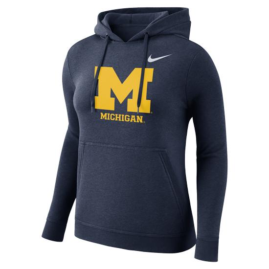 Nike University of Michigan Women's Navy Stadium Club Hooded Sweatshirt