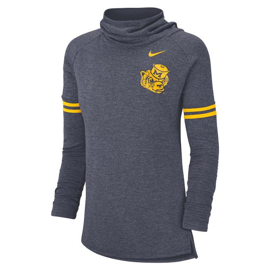 Nike University of Michigan Women's Heather Navy College Vault Wolverine Long Sleeve Funnel Neck Top
