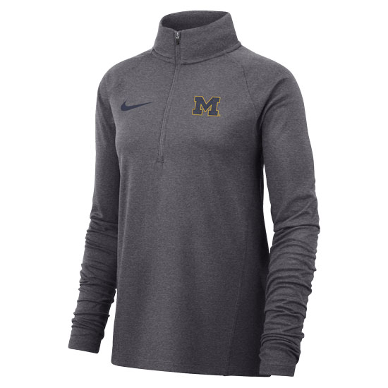 Nike University of Michigan Women's Dark Heather Gray Dri-FIT Half-Zip Core Pullover