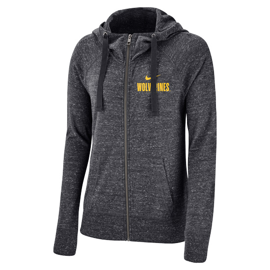 Nike University of Michigan Women's Anthracite Gym Vintage Full Zip Hooded Sweatshirt