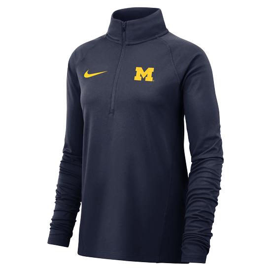 Nike University of Michigan Women's Navy Dri-FIT 1/2 Zip Pullover