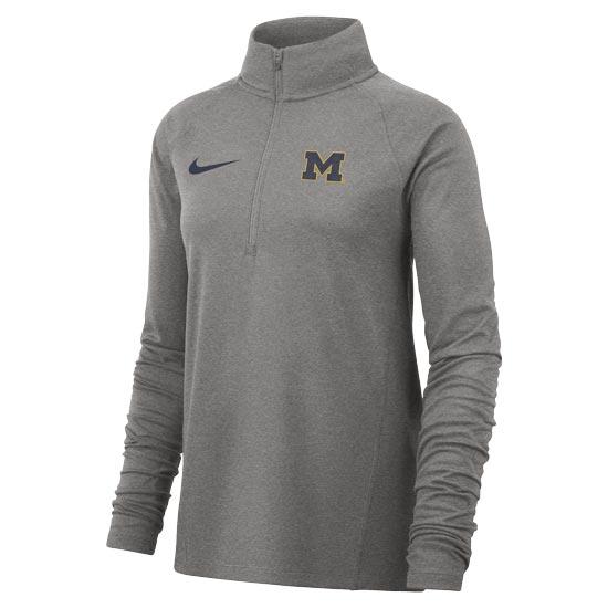 Nike University of Michigan Women's Gray Dri-FIT 1/2 Zip Pullover
