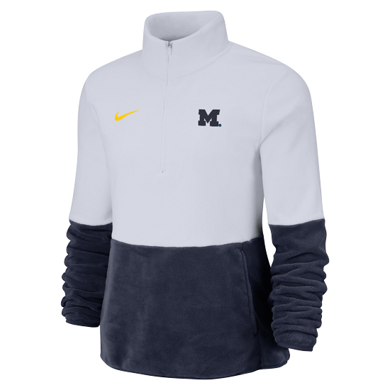 Nike University of Michigan Women's Navy/White Player Therma-FIT Fleece 1/2 Zip Pullover