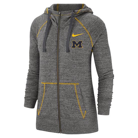 Nike University of Michigan Women's Charcoal Gray Vintage Full Zip Hooded Sweatshirt