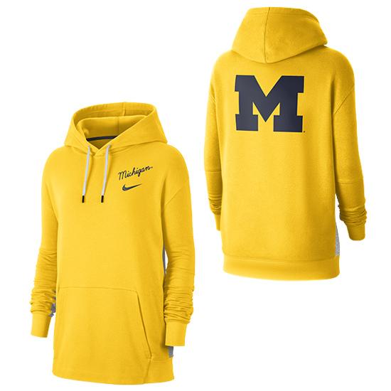 Nike University of Michigan Women's Maize/Gray Front and Back Hooded Sweatshirt