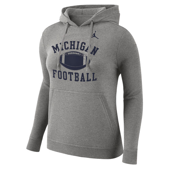 Jordan University of Michigan Football Women's Gray Phys. Ed. Hooded Sweatshirt