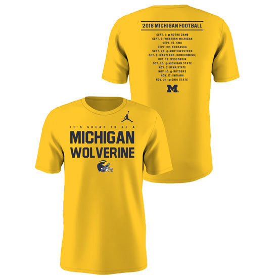 07e6d35e16ebf7 Jordan University of Michigan Football 2018 Season Tee. Product Thumbnail  Product Thumbnail Product Thumbnail