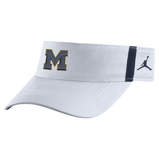 Jordan University of Michigan Football White Aerobill Sideline Coaches Dri-FIT Visor