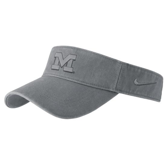 Nike University of Michigan Gray Pigment Washed Visor