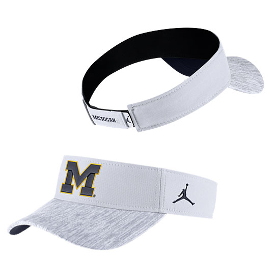 Jordan University of Michigan Football White Sideline Dri-FIT Visor