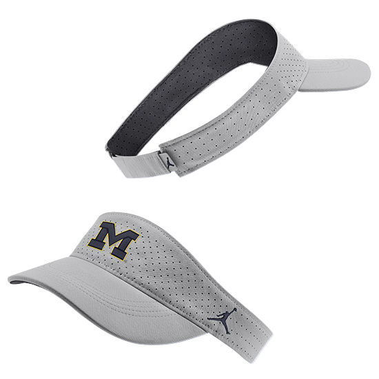 Jordan University of Michigan Football Flat Silver Aerobill Sideline Visor