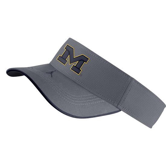 Jordan University of Michigan Football Gray Aerobill Sideline Visor